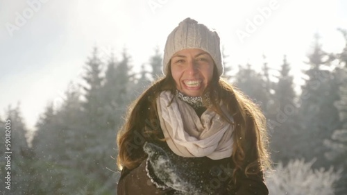 Smiling Woman Playing with Snow Beautiful Winter Sun Outdoors