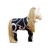 Hand made soft toy horse isolated with golden mane and bridle