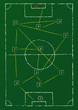 Soccer tactics diagram on a chalkboard, vector format
