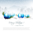 Christmas winter landscape with blue balls and copyspace