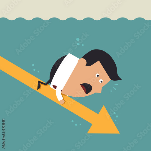 Young businessman with falling arrow, Business concept