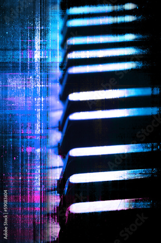 Blue and purple grunge piano keys