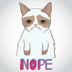 Vector grumpy cat - crazy funny illustration
