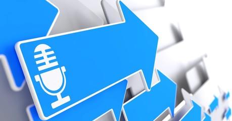 Microphone Icon on Blue Arrow.