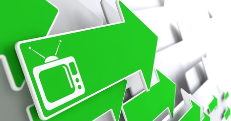 TV Set Icon on Green Arrow.