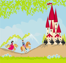 prince and princess on their horses go to the castle
