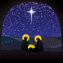 Nativity crib christmas scene