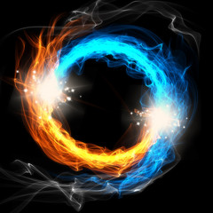 Fire and Ice, a round sign on a black background
