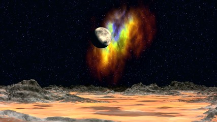Planet and nebula in the background of the fantastic landscape