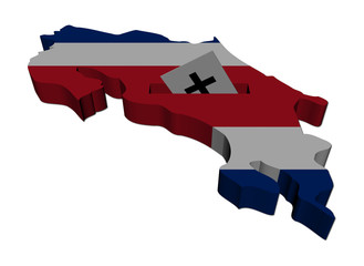 Costa Rica election map with ballot paper illustration