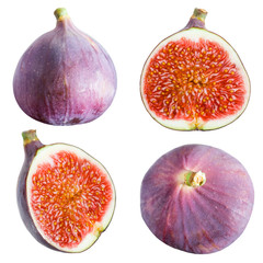 Figs collection. Fruits on white background
