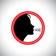 young woman saying shh to silence other people's noise - concept