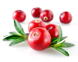 Cranberry with leaves isolated on white background