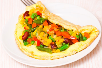 omelette with vegetable mix