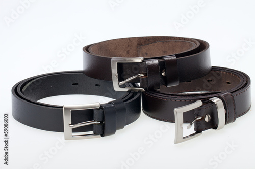 Men black belt isolated on white.