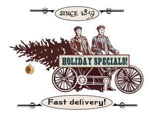 Holiday specials vintage illustration