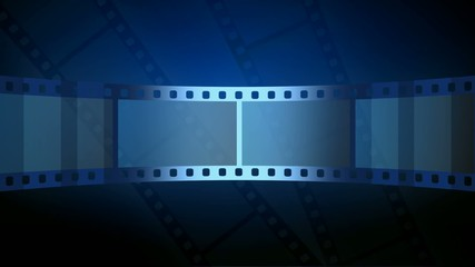 abstract blue motion background with moving film strip in loop