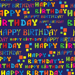text HAPPY BIRTHDAY seamless pattern