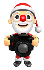 3D Santa character to shoot the Big Camera toward the Front. 3D