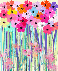 abstract flower power background, illustration in pink