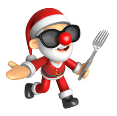 Wear sunglasses 3D Santa Mascot the left hand guides and right h
