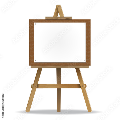 white canvas on an easel.