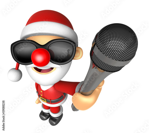 Wear sunglasses 3D Santa character point a microphone. 3D Christ