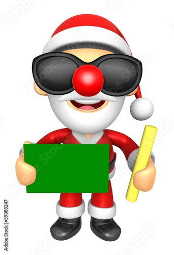 Wear sunglasses 3D Santa Mascot hand is holding a Chalk and Chal