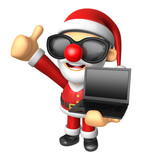 Wear sunglasses 3D Santa Mascot the left hand best gesture and r