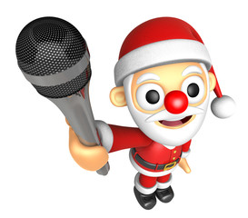3D Santa character point a microphone. 3D Christmas Character De