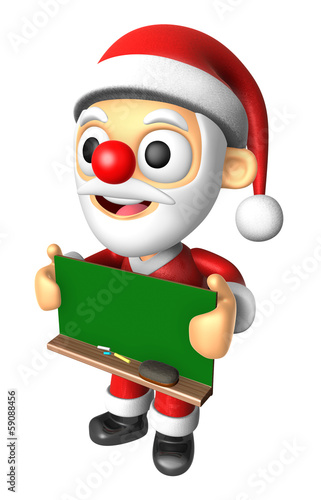 3D Santa Mascot holding a big board with both Green chalkboard.