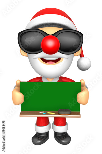 Wear sunglasses 3D Santa Mascot holding a big board with both Gr
