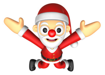 3D Santa character unclasp both hands jumping.  3D Christmas Cha