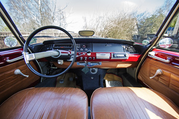 Old 1970s French car Citroen interior