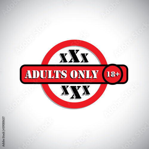 xxx material with label as adult's only, 18+ - concept vector
