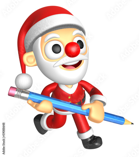 3D Santa Mascot holding a big board with both Pencil. 3D Christm