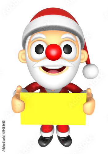3D Santa Mascot holding a big board with both Yellow paper. 3D C