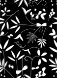 Black and White Floral Seamless Pattern