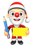 3D Santa Mascot hand is holding a Yellow paper and Pencil. 3D Ch