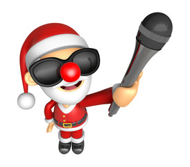 Wear sunglasses 3D Santa character is holding a microphone. 3D C