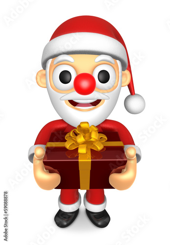 3D Santa mascot the hand is holding a Big Gift Box. 3D Christmas