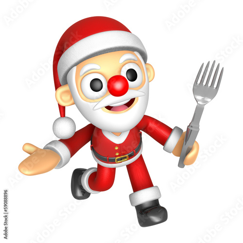 3D Santa Mascot the left hand guides and right hand is holding a