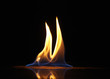 canvas print picture - fire flame on black background