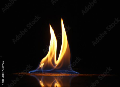 canvas print picture fire flame on black background