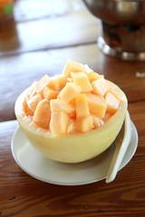 Fresh Fruit Cantaloupe on ice in Cantaloupe Bowl