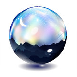 The colorful  night and moon in glass ball & crystal ball - 59090098