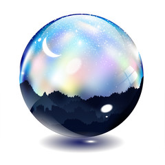 The colorful  night and moon in glass ball & crystal ball