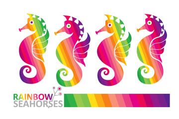 Rainbow seahorses.