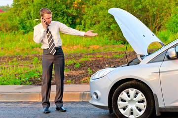 businessman in a car crash