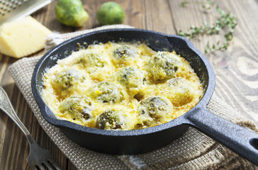 Casserole with brussels sprouts